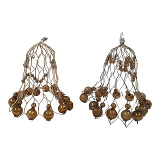 Large Antique Wire Bells wGold Balls S/2 For Sale