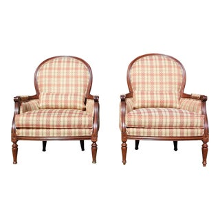 Pair of Ethan Allen Suzette Chairs Bergère French Style Fireside Accent Chairs For Sale