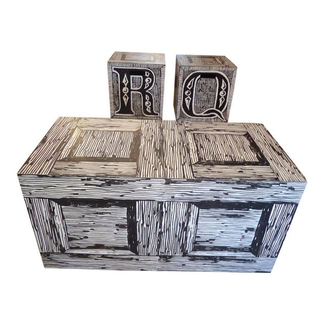 Paint Edward Gorey Cube End/Coffee Tables-Set of 3 For Sale - Image 7 of 7