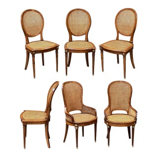 Set of French Caned Walnut Bergère Dining Chairs, Two Arms and Four Side Chairs For Sale