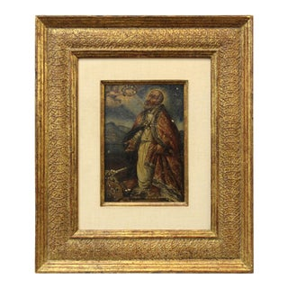 Spanish Colonial Saint and Angel Oil on Panel Painting For Sale
