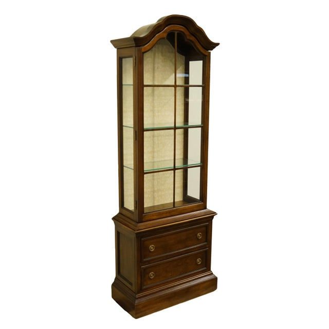 """French 20th Century French Country Brandt 25"""" Illuminated Curio Display Cabinet With Bonnet Top For Sale - Image 3 of 13"""