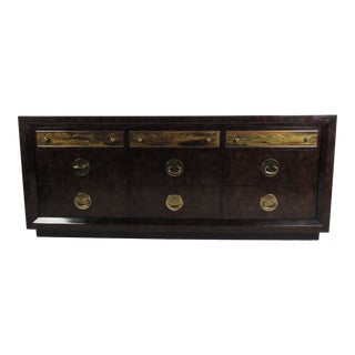 Brass and Burl Wood Dresser for Mastercraft by Bernhard Rohne For Sale