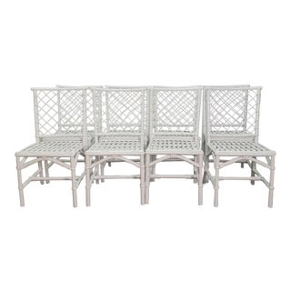 Ficks Reed Diamond Patterned Rattan Chairs - Set of 8 For Sale