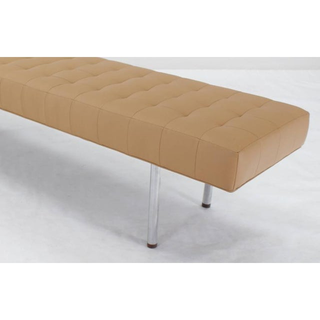 Tufted Upholstery Long Bench on Chrome Cylinder Legs Daybed For Sale - Image 4 of 7