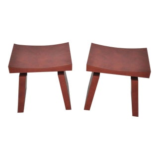 French Red Leather Stools by Dominic Chambon For Sale