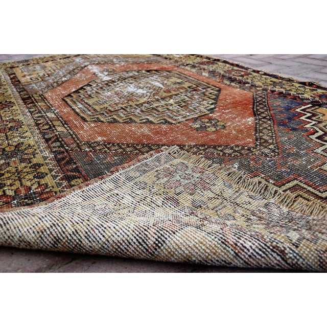 Antique Turkish Handmade Oushak Pile Rug 3′8″ × 5′11″ - Image 6 of 7