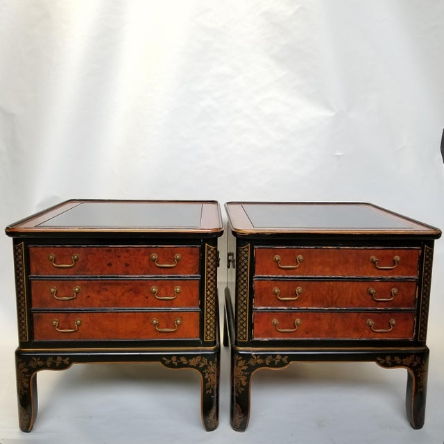Drexel Et Cetera Chinoiserie Black Lacquer Burlwood Side Tables - a Pair For Sale - Image 11 of 11