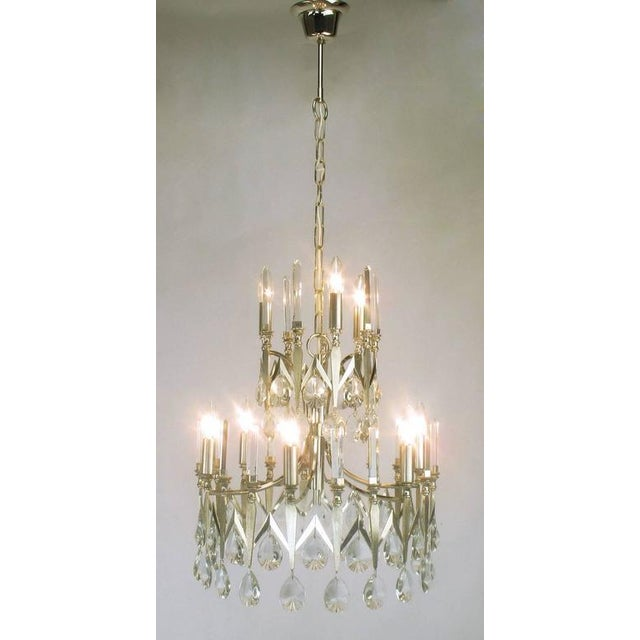 Rare Italian Import Gaetano Sciolari Silver and Crystal Nine-Light Chandelier - Image 7 of 7
