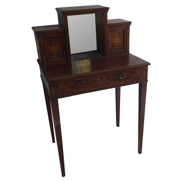Antique Inlaid Wood Writing Desk - Image 1 of 11 - Antique Inlaid Wood Writing Desk Chairish