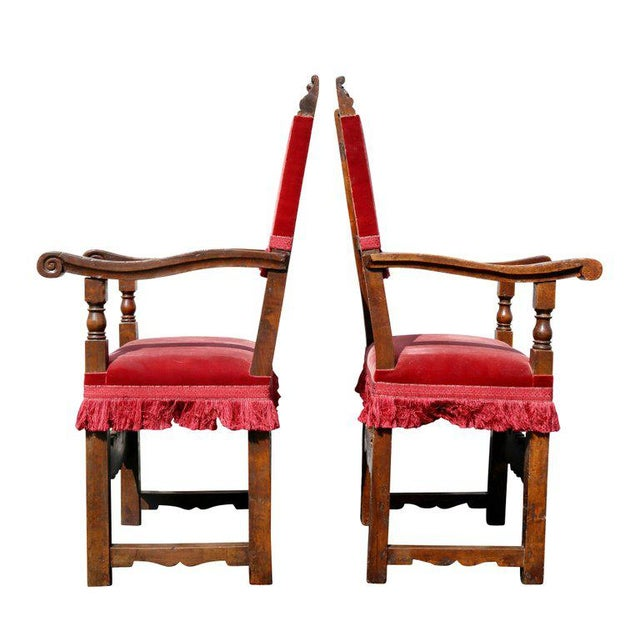Assembled Set of Six Italian Baroque Walnut Dining Chairs For Sale - Image 9 of 12