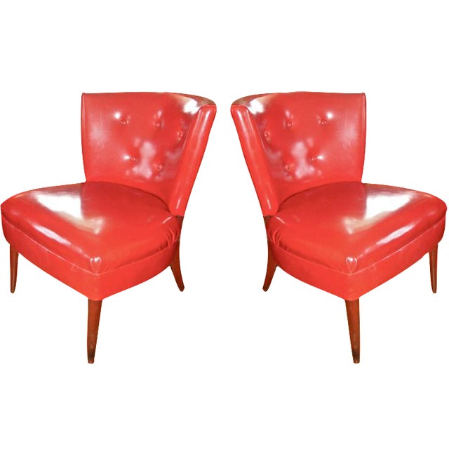 Red Faux Leather Slipper Chairs A Pair Chairish