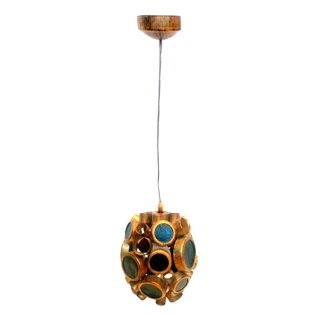 Vintage Brass & Espresso Glass Barnacle Pendant Light - Image 1 of 9
