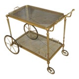 Image of French Maison Jansen Solid Brass Bar Cart For Sale