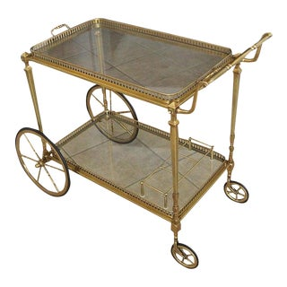 French Maison Jansen Solid Brass Bar Cart For Sale