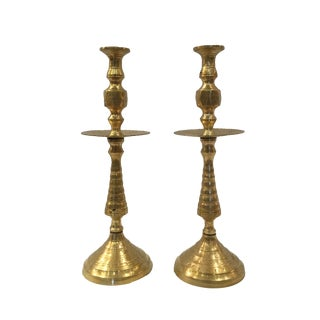 Vintage Etched Brass Candleholders-a Pair For Sale