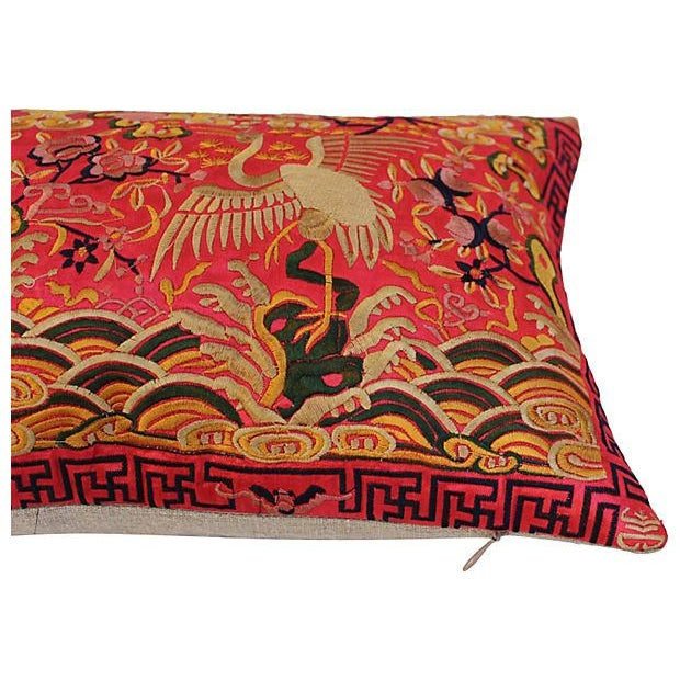 Boudoir pillow made of a vintage colorful embroidered silk Asian textile fragment with cranes. New linen back and zipper...