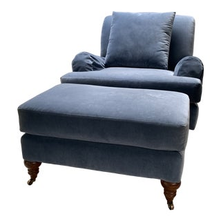 1900s Vintage Traditional Chair & Matching Ottoman For Sale
