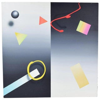 """Modernist Geometric """"Black Abstract Ball"""" Neon Acrylic Painting by William Anton Nyc For Sale"""