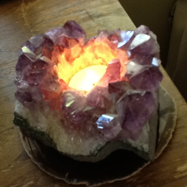 Raw Amethyst Rock Crystal Votive - Image 7 of 11