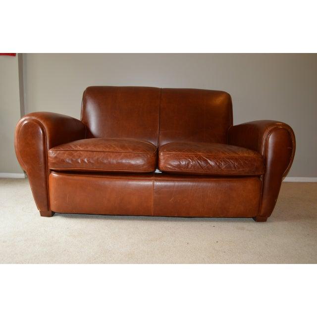 Brown Restoration Hardware Leather Loveseat For Sale - Image 8 of 8