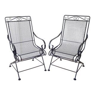Russell Woodard Sculpture Wire Spring Recliner Patio Chairs- a Pair For Sale