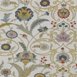 "Lewis & Wood Ipek Damask Pugin Extra Wide 52"" Damask Wallpaper Sample For Sale"