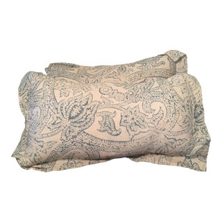 Restoration Hardware Distressed Italian Scroll Linen Lumbar Pillows - a Pair For Sale
