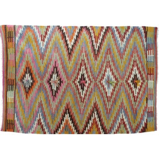 "Vintage Turkish Kilim Rug-5'2'x7'7"" For Sale"