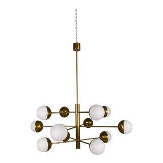 Stilnovo Mid-Century Brass Globe Chandelier For Sale