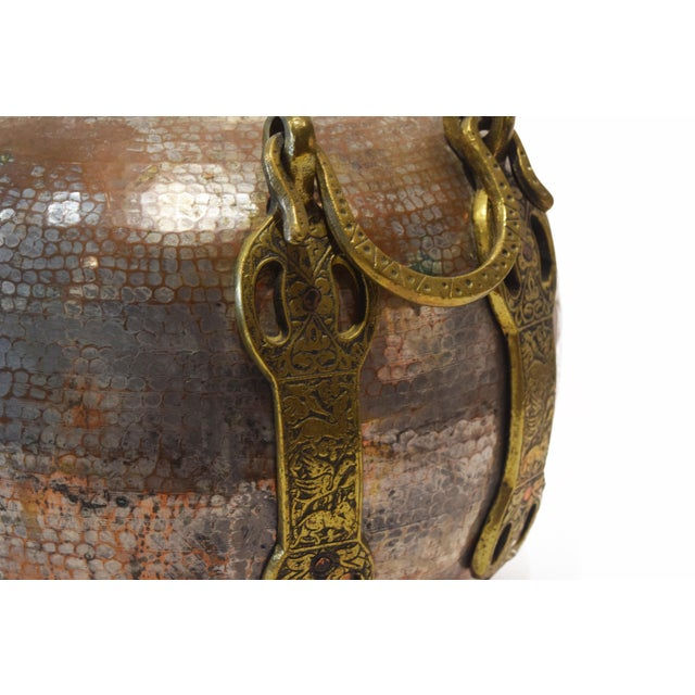Turkish Tinned and Hammered, Copper Cauldron With Brass Handles For Sale - Image 4 of 9