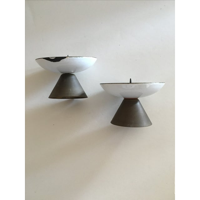 1960's Enamel Taper Candle Holders - A Pair - Image 4 of 4