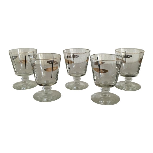 Vintage Atomic Footed Glasses - Set of 5 - Image 1 of 5
