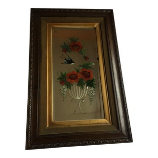 Victorian Floral & Bird Reverse Painted Etched Wall Mirror