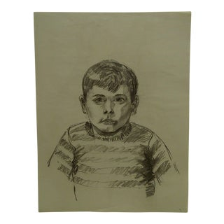 "Mid-Century Modern Original Drawing on Paper, ""Little Boy"" by Tom Sturges Jr"
