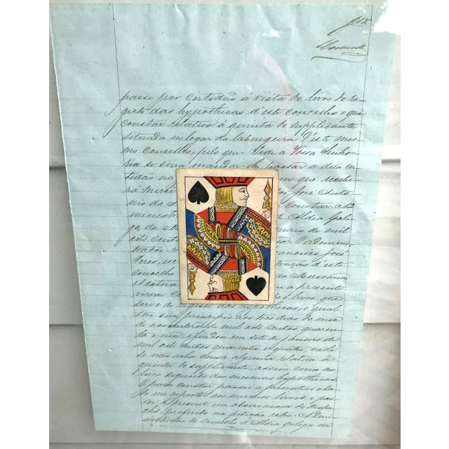 Turquoise Early 20th Century Antique French Letters and Playing Card Collage For Sale - Image 8 of 13