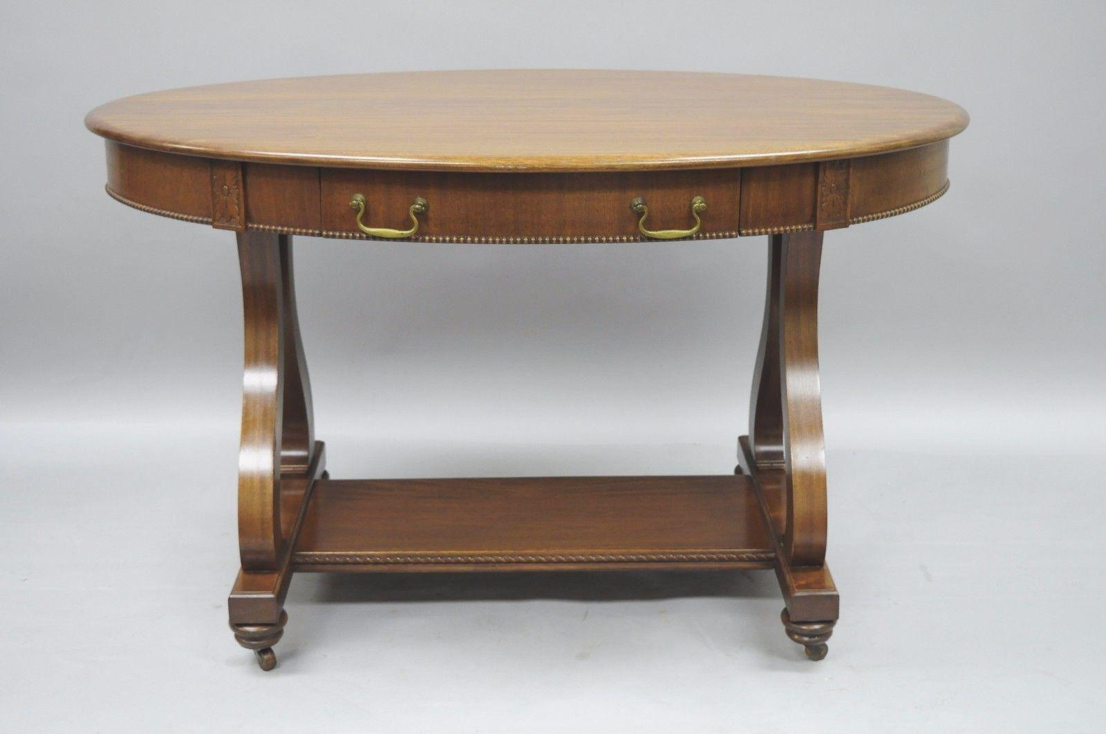 Antique Empire Style Mahogany 1 Drawer Oval Library Table Hall Console Desk    Image 3 Of