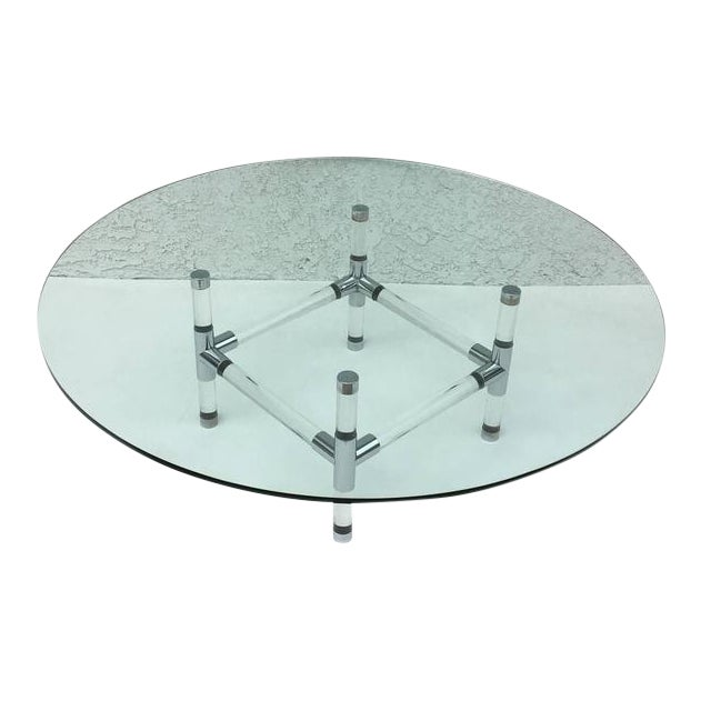 Acrylic and Chrome Cocktail Table by Charles Hollis Jones - Image 1 of 6