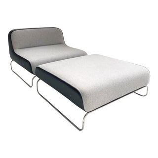 Piero Lissoni Lounge Chair & Ottoman in Loro Piana Cashmere and Leather For Sale