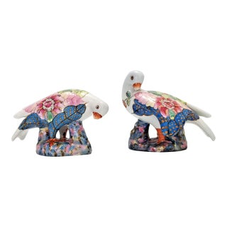 Vintage Chinese Tobacco Leaf Porcelain Dove Figurines - Signed - a Pair - Asian Oriental Chinoiserie Palm Beach Boho Chic For Sale