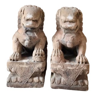 Vintage Garden Foo Dogs - a Pair For Sale