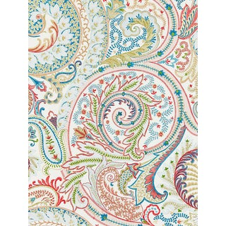 Sample, Scalamandre Malabar Paisley Embroidery Bloom Fabric For Sale