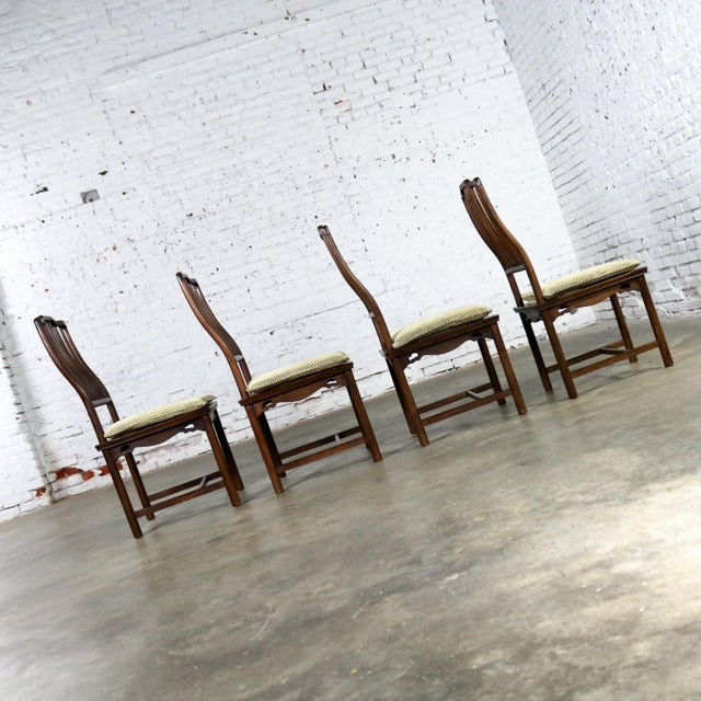 2000s Four Drexel Heritage Chinoiserie Ming Style Spindle Back Dining Chairs For Sale - Image 5 of 13
