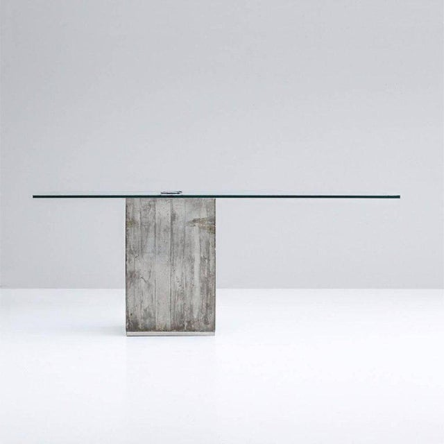 Sergio & Giorgio Saporiti concrete and glass modern dining table, Italy, circa 1970.