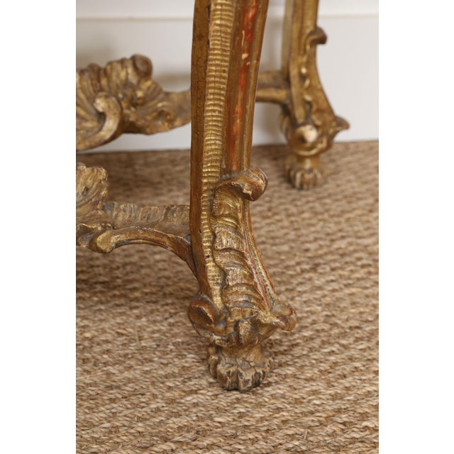 Gold Gilt Console With Custom Cut Marble Top For Sale - Image 10 of 12