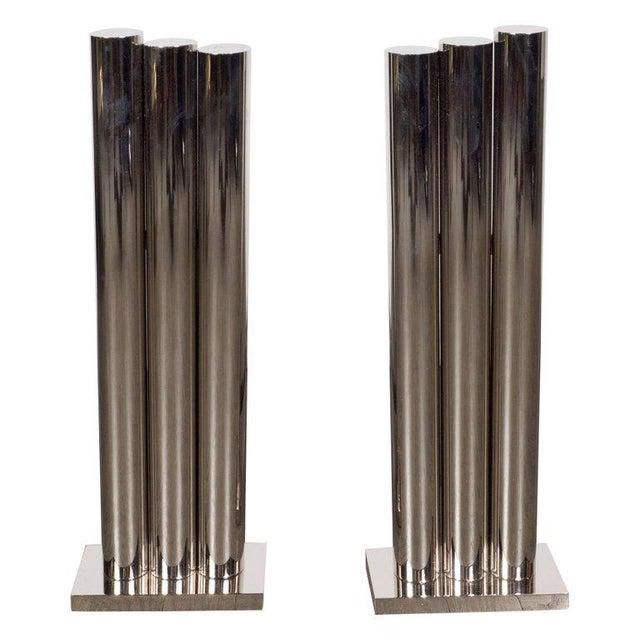 Custom Modernist Tubular Polished Nickel Andirons For Sale - Image 11 of 11