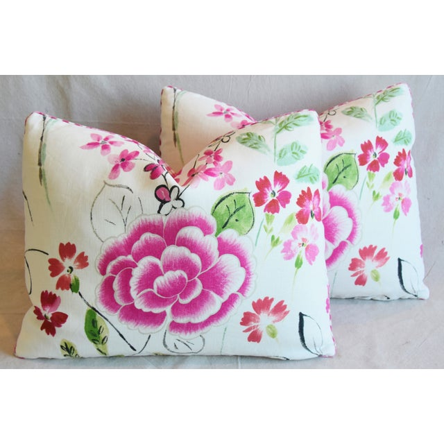 """French Manuel Canovas Floral Linen Feather/Down Pillows 23"""" X 17"""" - Pair For Sale - Image 13 of 13"""
