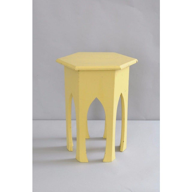 Antique Primitive Rustic Moorish Style Yellow Painted Accent Side Table Arched - Image 7 of 11