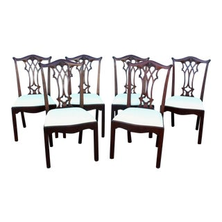 Vintage Mid Century White Chippendale Dining Chairs- Set of 6 For Sale