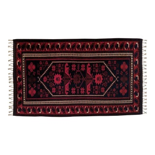 Persian, Hand- Woven Red Rug, With Braided Tassels, Vintage For Sale